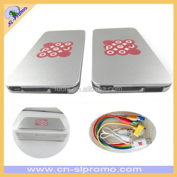High Quality New Design 4000Mah Metal Slim Power Bank In Crystal Box with Colorful Cable
