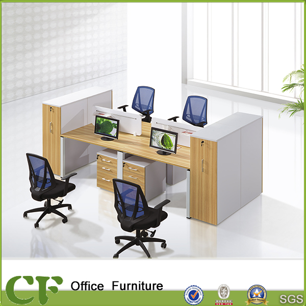 Commercial Office Desk with Partition Divider Wooden Office Workstation cubicles for 4 People