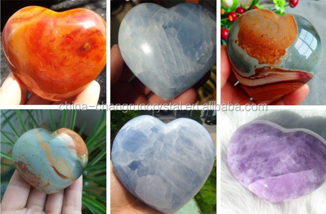 Hot Sale Lapis lazuli Carved Crystal Love Puffy Heart Stone
