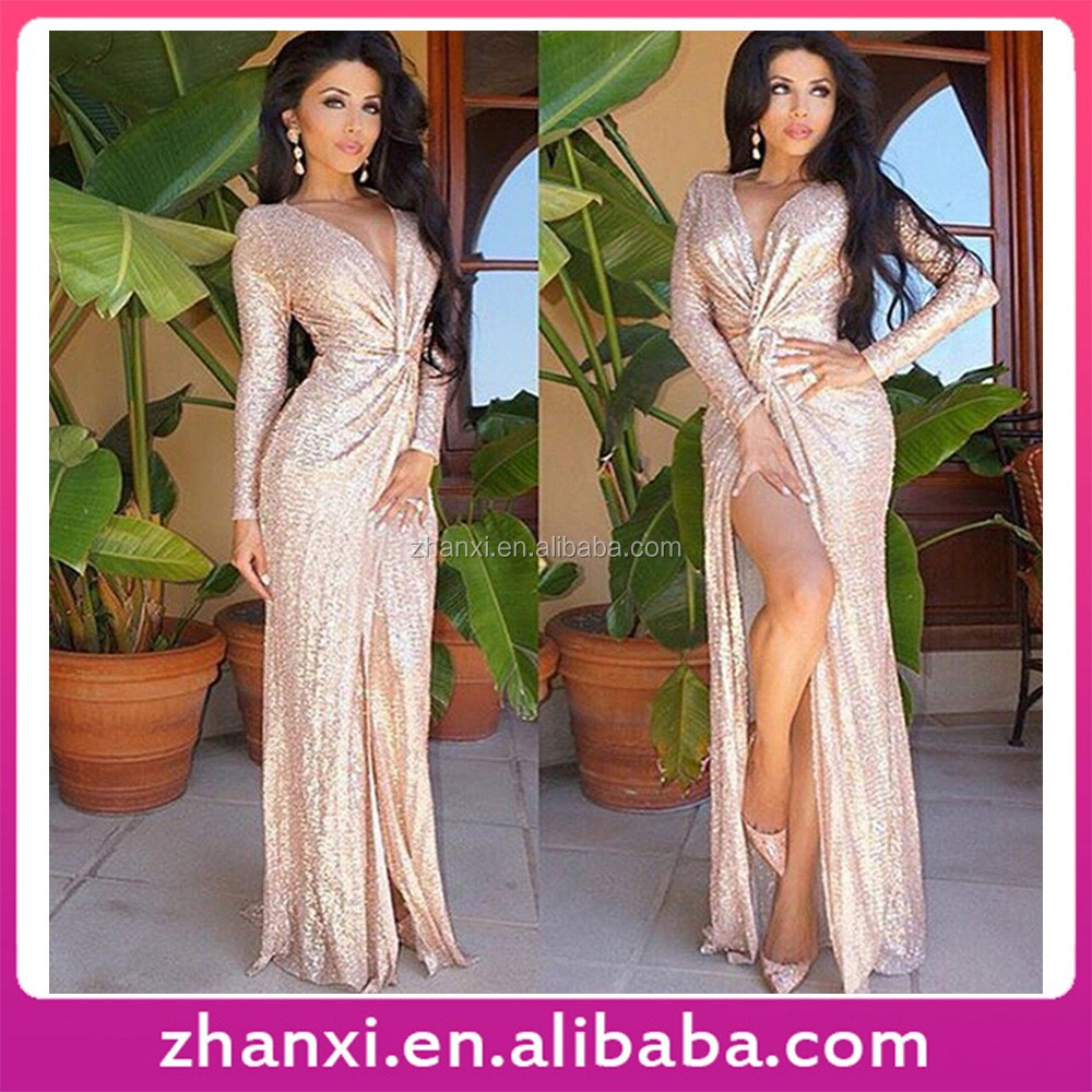 Summer gold sequined long-sleeved deep V split long knot evening <strong>dresses</strong>
