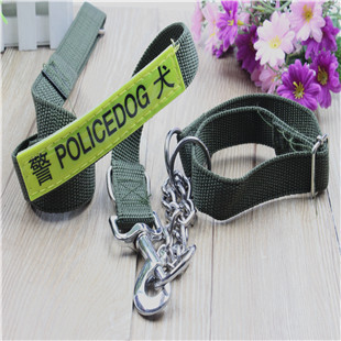 Pet supplies military green collar + traction rope dog chain dog rope pet traction belt pet traction rope