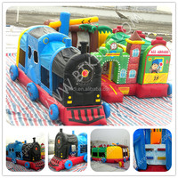 Inflatable amusement park playground/giant inflatable train bouncer for kids B3099