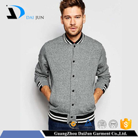 Daijun oem 2016 new design autumn 100% cotton casual style man gray fashion varsity jacket