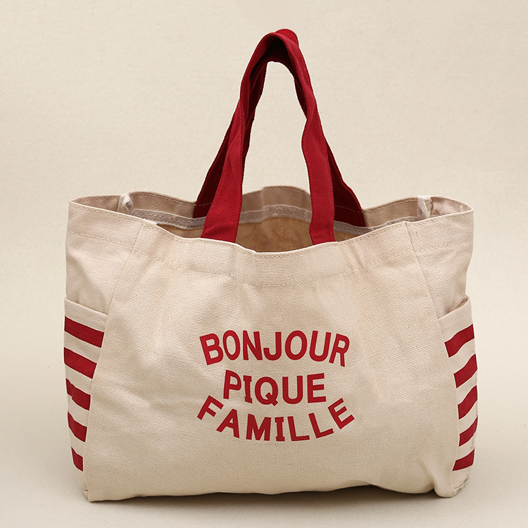 Red print canvas tote bag for vegetable