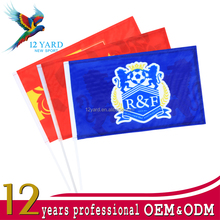Outdoor Sublimation Printed Soccer Sports Hand Held Flags With Stick Flagpole