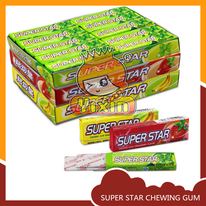 super star chewing bubble gum