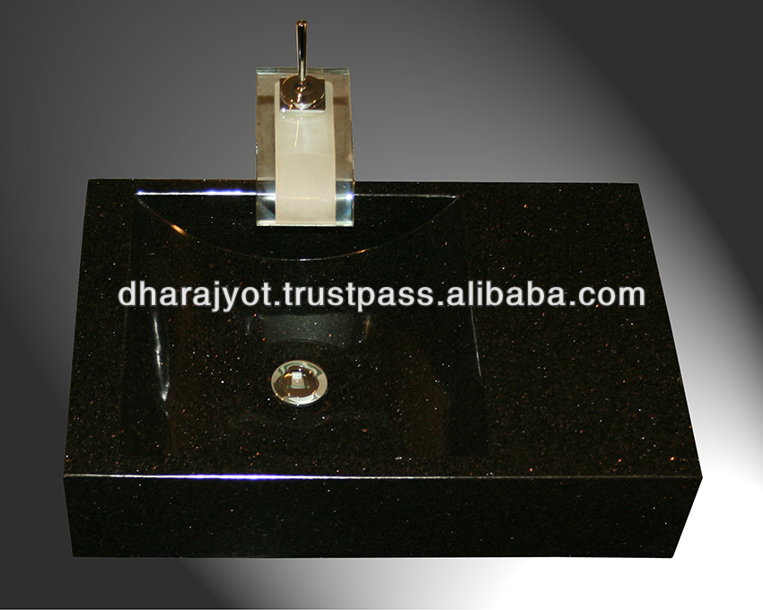 Black Granite Polished Square Sink