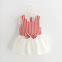 Kids frock striped tank white and black bow tie tutu sleeveless mini sundress softtextile baby 1 year old party dress