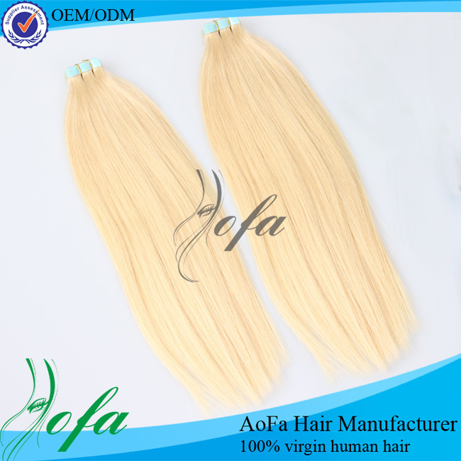 Human hair extentions double face adhesive super tape in hair extension blonde