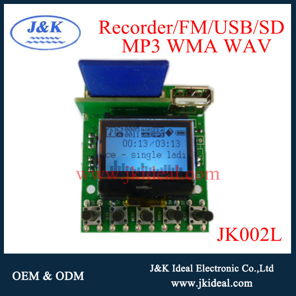 JK002L mp4 /mp3 voice recording usb sd fm radio kit