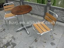 Aluminium wooden table set for outdoor