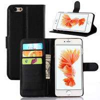 Bulk order buy Litchi Stria Soft Leather For Mobile Phone Iphone 6 Flip Wallet Leather Case