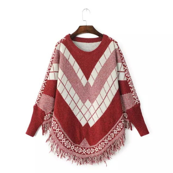 MS66863W fashion plaid fringe women sweater cape poncho