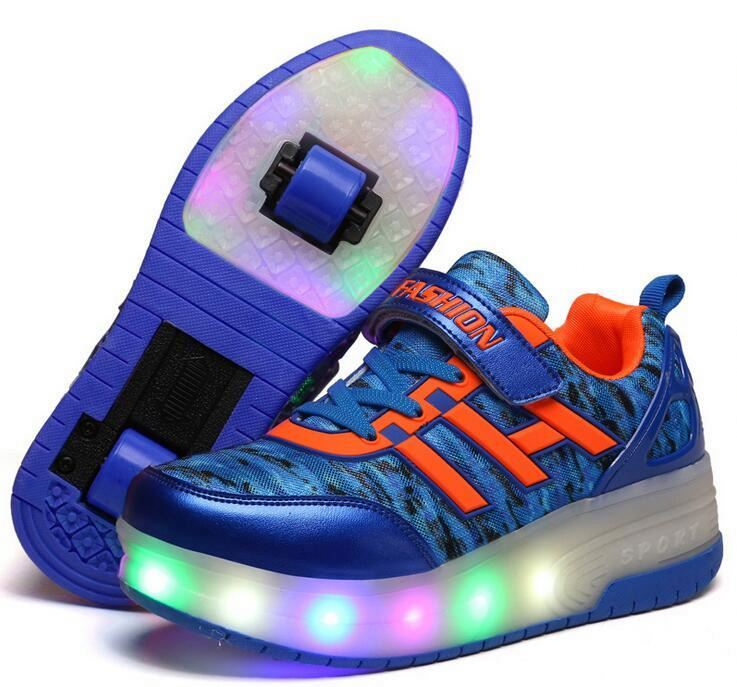 Fashion Sneakers With Wheels kid Girls Boys LED Light Roller Skate Shoes