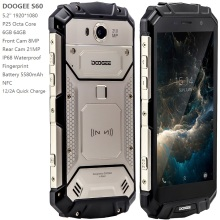 DOOGEE S60 IP68 Waterproof Smart phone 6GB 64GB P25 Octa Core Android 7 5580mAh 21MP NFC 4G LTE Rugged cellphone mobile phone