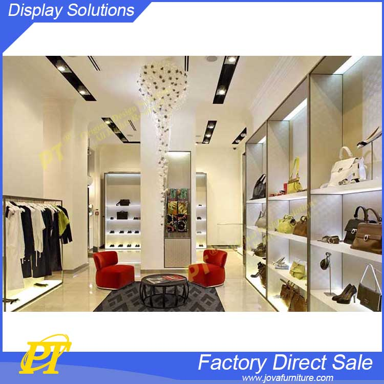 Elegant retail store design for clothing store shelves