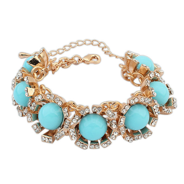 Best sell in turkey new product 2014 fashion new trends blue resin bead different kinds of stone bracelet PB1933