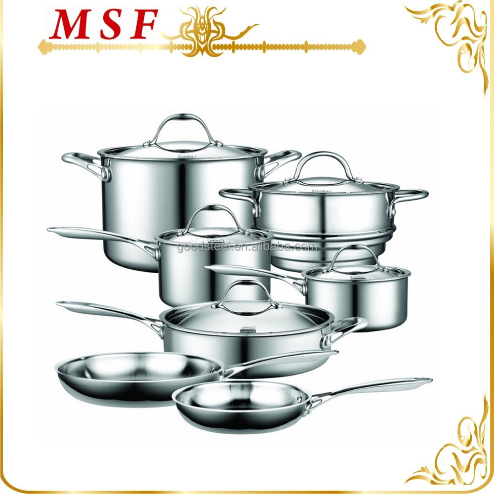 MSF-L3291 Prestige 12pcs stainless steel cookware set Tri-ply cookware material stainless steel + aluminum + stainless steel