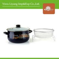 Enamel Deep Fryer With Detachable Funnel Porcelain Casserole With Glass Cover Cast Iron Enamel Pot
