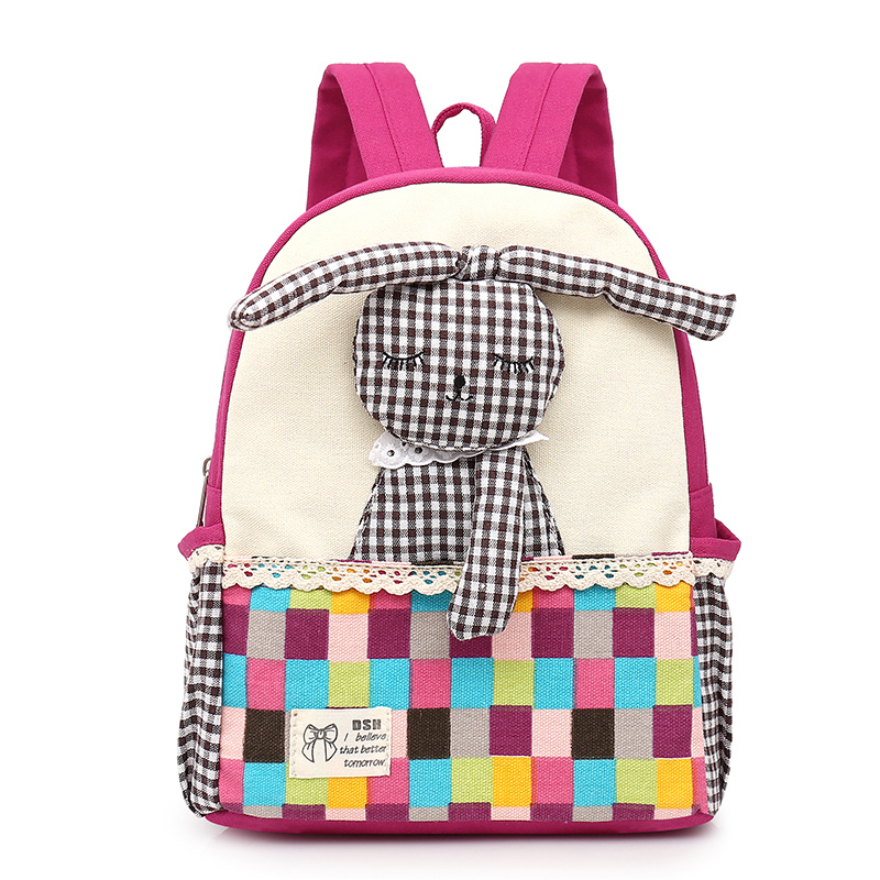 Canvas Cute Rabbit Cartoon Kids Bookbags Backpack <strong>School</strong> for Girls