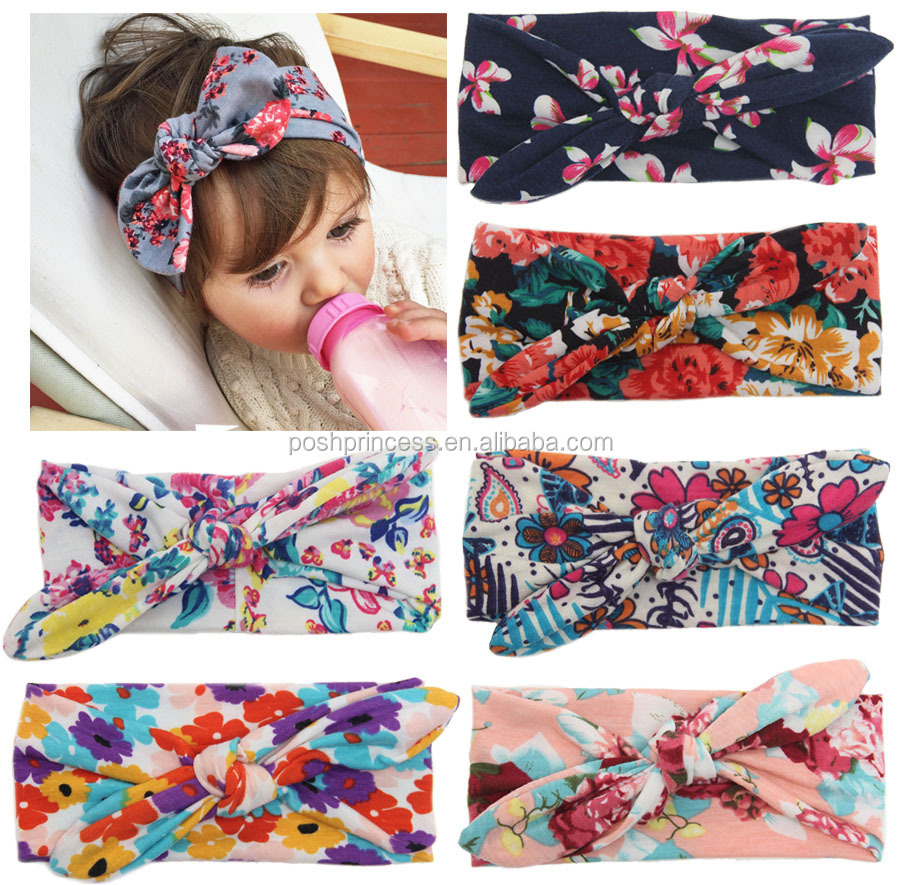 Wholesale New Floral Baby Girl Cotton Knotted Headband