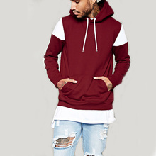 Hot sale comfort colors t-shirts long sleeve blank no brand hooded men's t shirt with drawstring hood