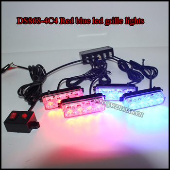 4x4 leds red blue color police car vehicle grill lights