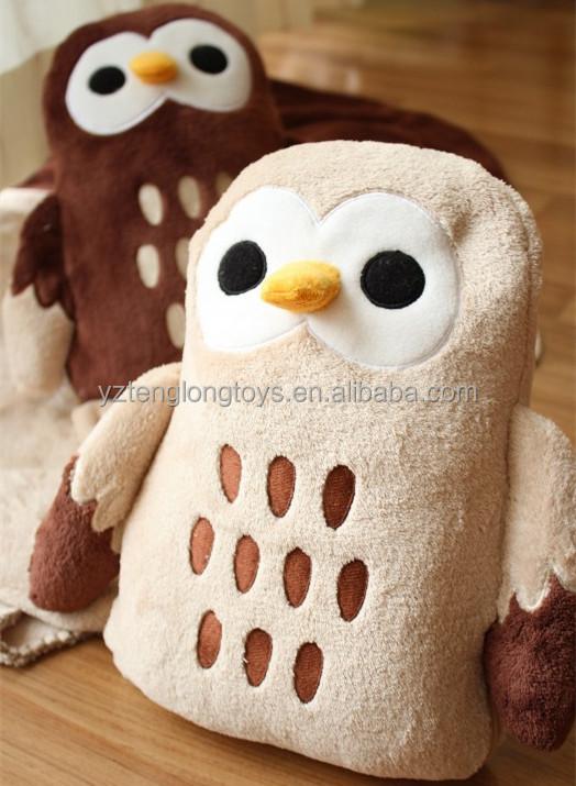 Animal Pillow Blanket Inside : Soft plush owl shaped tube pillow with blanket inside, View owl shaped pillow blanket, TENGLONG ...