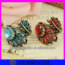 fashion alloy blue an red crystal vintage pot leaf ring