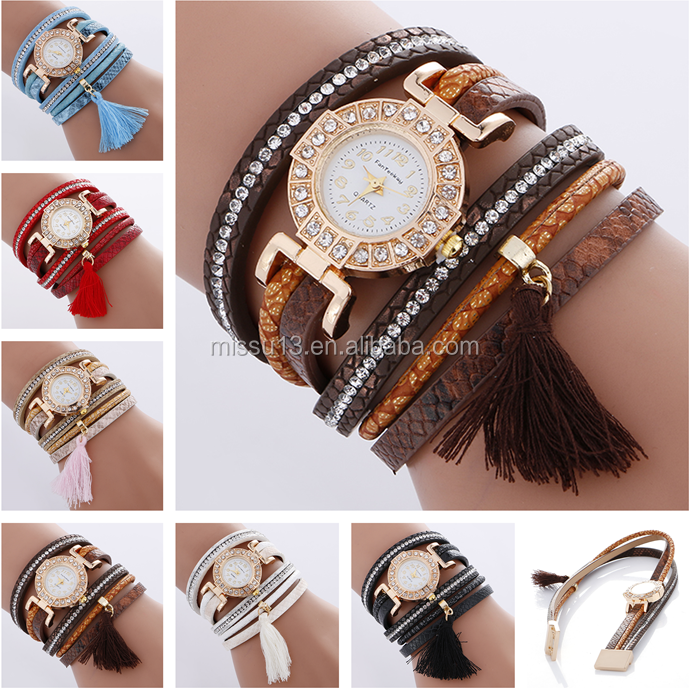 tassel watch 2017 popular vogue colorful rhinestone fabric soft strap women braclet tassel pendant brand watch