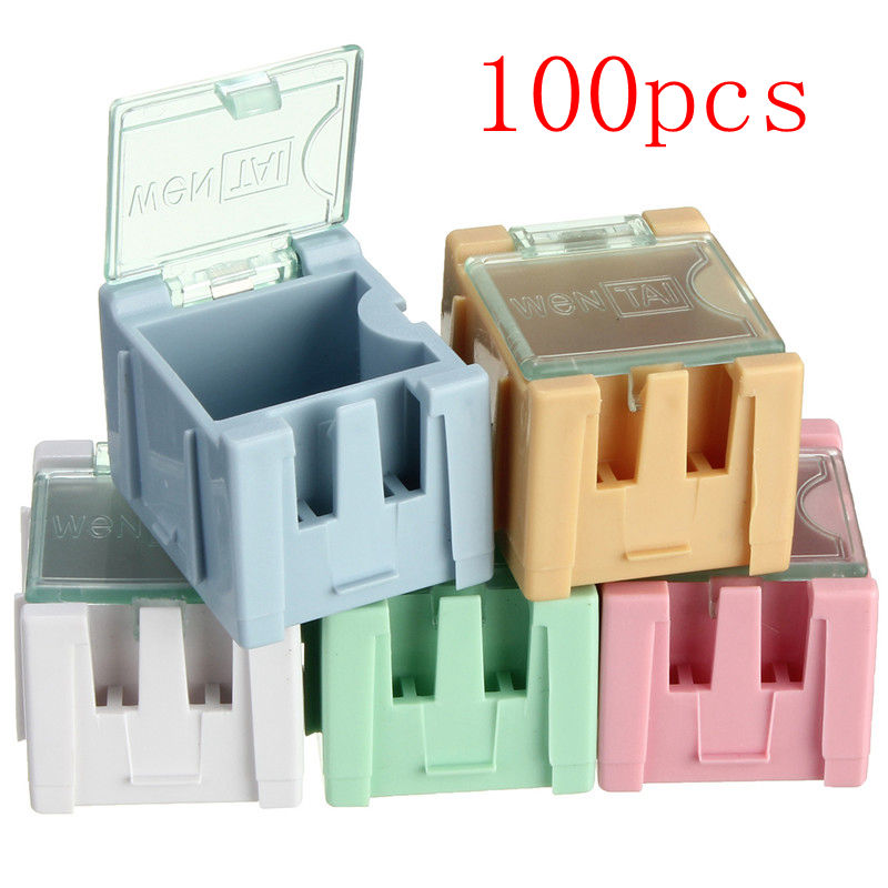 Hot Sale 100pcs SMT SMD Electronic Components Parts Box Cases Patch Laboratory Storage Box Plastic Five Color