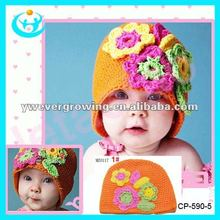 knit children hat with flower infant children winter warm cap and hat kid knitted cap