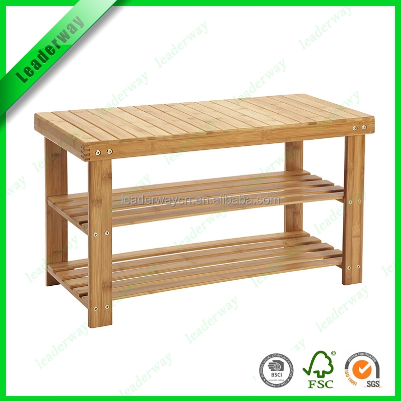 New product bamboo with MDF indoor storage shoe rack bench