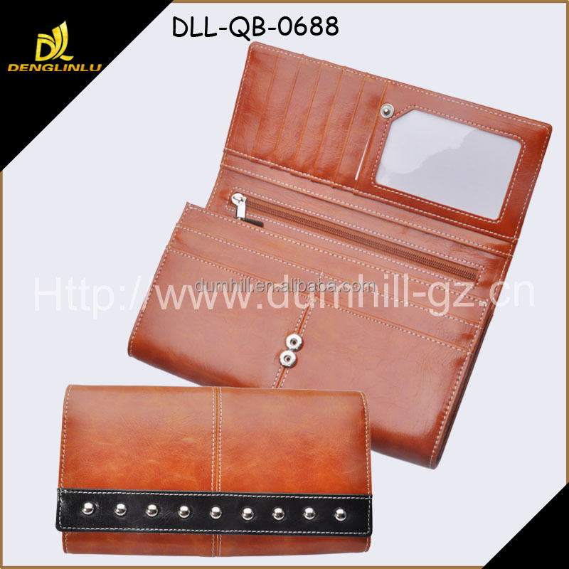 PU leather Lady Wallet With Rounded- Rivet Decoration