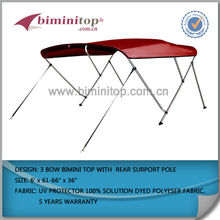Dark Grey 600d Solution Dyed Polyester and 1 Inch Aluminum Frame 4 Bow Bimini Top Boat Top Cover