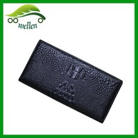 Custom Branded Vintage Credit Card RFID Blocking Crocodile Skin Cow Leather Men's Wallet