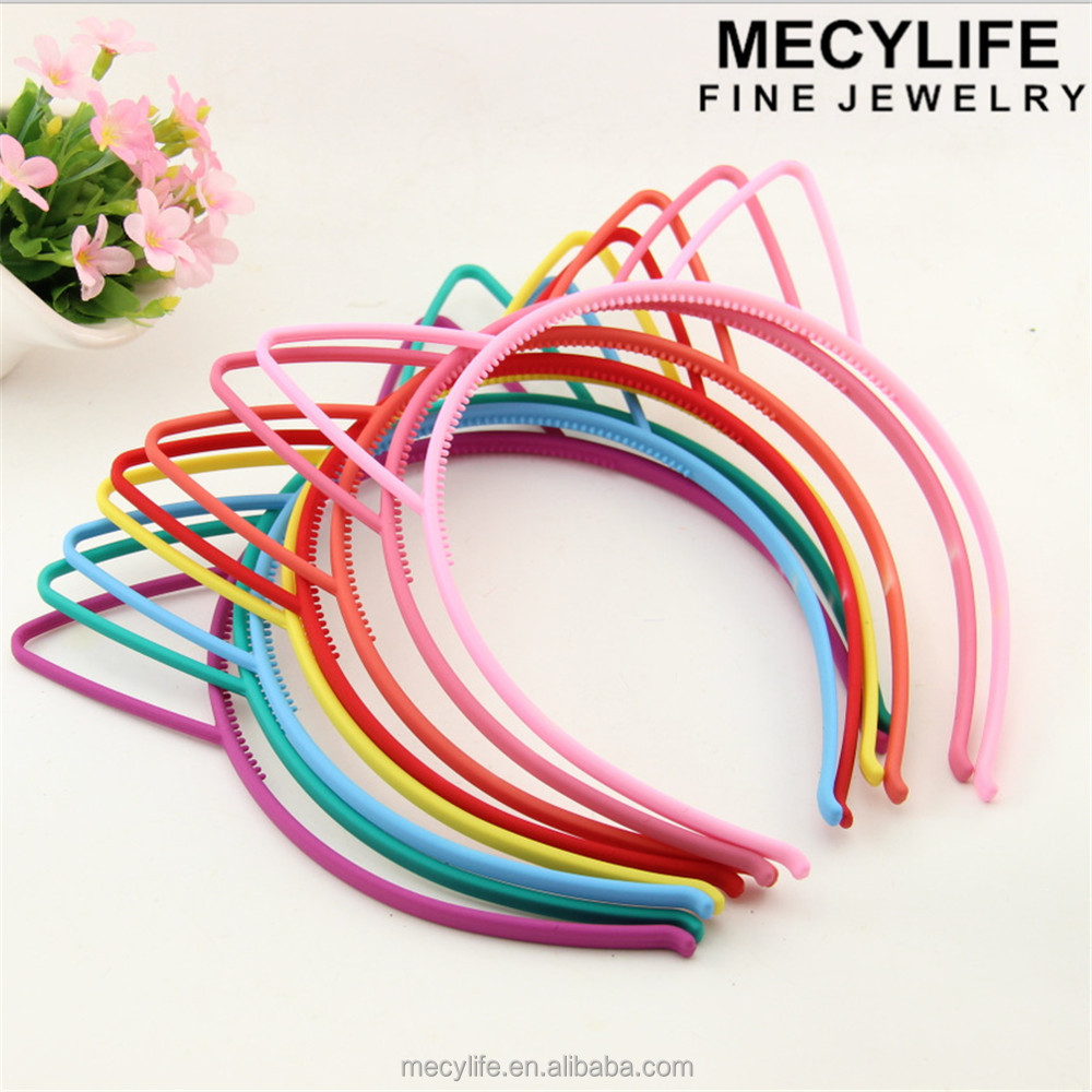 MECY LIFE cheap wholesale candy color plastic kids cat ears headband