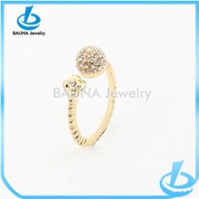 Wholesale cute fashion small rhinestone flower cock ball ring