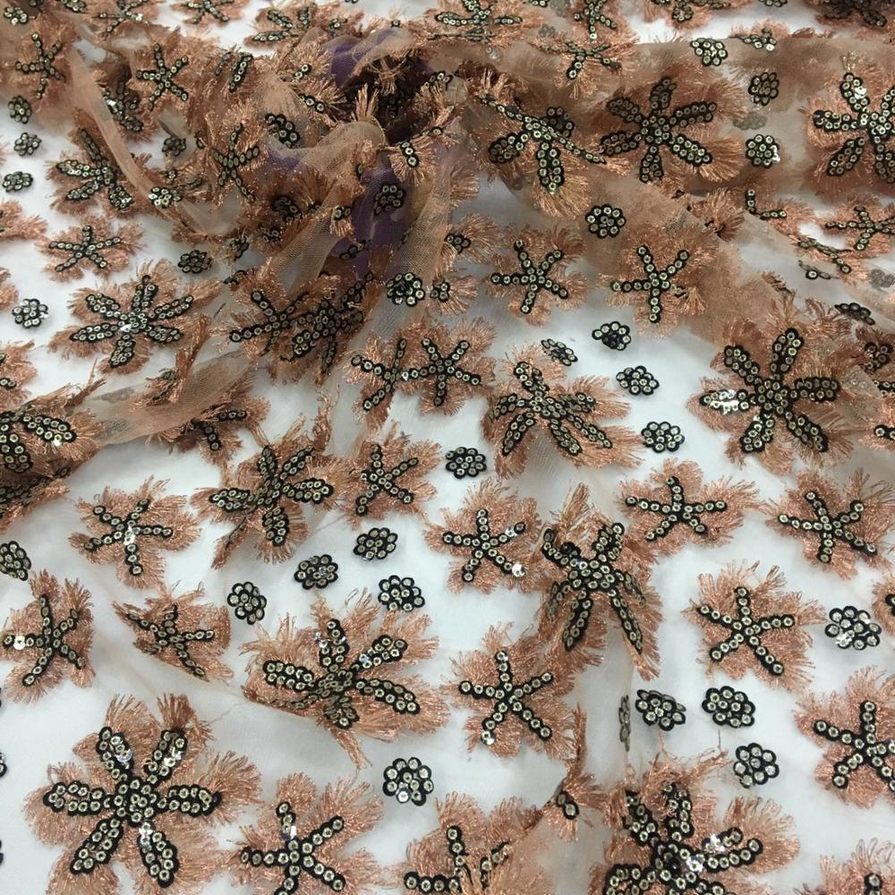 FACTORY BASED FANCY EMBROIDERY FABRIC 3D EMBROIDERY SEQUIN EMBOIDERT