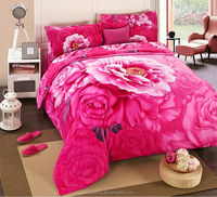 3D Life Style big red rose custom printed bed sheets pure polyester 4pcs bed sheets
