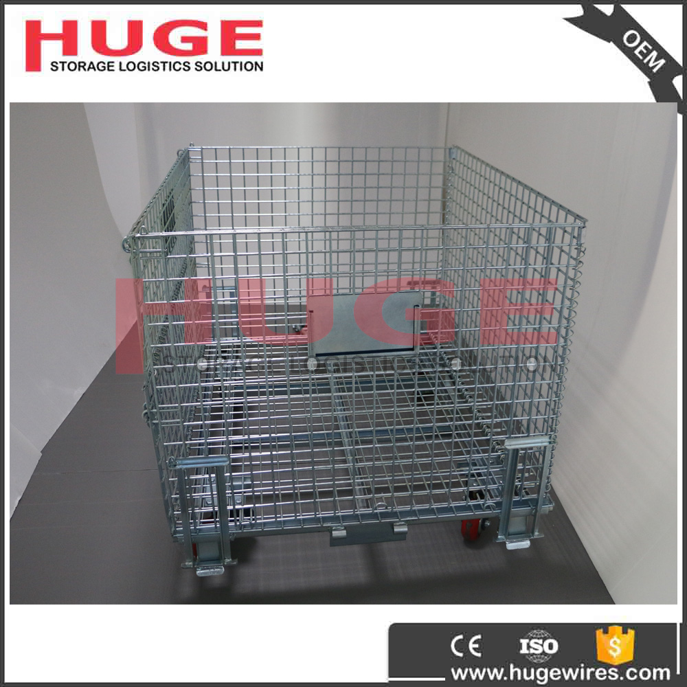 Galvanized Large Lockable Wire Mesh Steel Storage Roll Cage/Storage Container/Warehouse Storage Rack