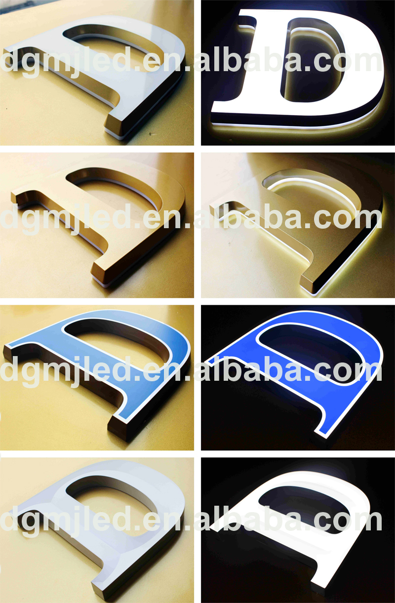3D back lit painted blue letter for outdoor wall