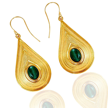 Fantastic Malachite Gemstone Earrings in Gold Plated 925 Sterling Silver