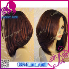 Hot Sale Malaysian Human Hair Lace Front Wigs #33 color Straight Hair Middle Part bob wigs For Black Women