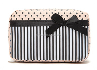Custom professional travel polka dot and stripe pattern zipper cosemtic bag with bowknot