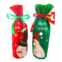 Christmas decorative Christmas santa claus wine bottle covers felt decorative wine bottle cover