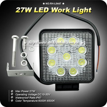 GoldRunhui RH-L0447 New Products Offroad LED Work Light 4x4 27w 12v 27w Led Work Light