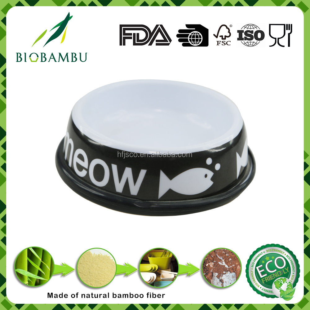 Cartoon fish pattern black bamboo fiber pet bowl for cat