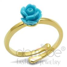 2016 New Arrivals Wholesale Fashion Jewelry Flash Gold Plated Brass Sea Blue Rose Synthetic Stone Midi Ring