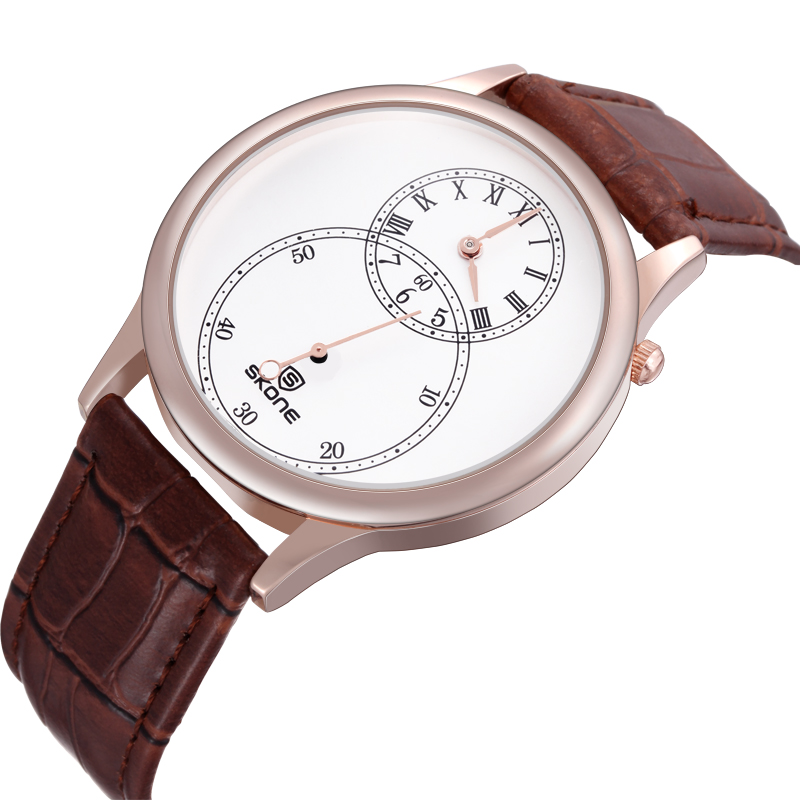 Trendy Brand Design Mens Leather Watch Customize Logo Double Japan Quartz Movement Western Watch Price